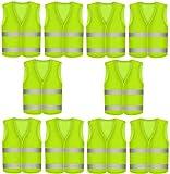 10 Stück Warnweste Sicherheitswesten Gelb - Einheitsgröße - Fürs Auto und am Arbeitsplatz -...