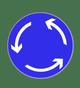 Zeichen 215: Fahrtrichtung im Kreisverkehr