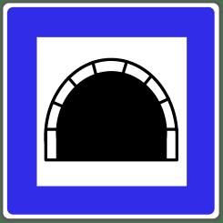 Mit diesem Verkehrsschild wird ein Tunnel angekündigt.