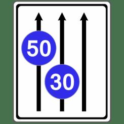 VZ 525: Fahrstreifentafel mit Mindestgeschwindigkeit