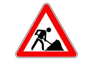 Baustellen werden durch das Zeichen 123 angezeigt.