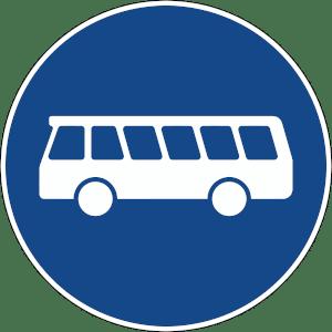Die Busspur wird durch das Verkehrszeichen 245 ausgewiesen.