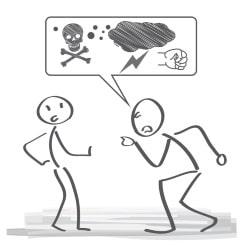 Bei starken Beleidigungen kann ein Gespräch ein Dienstunfall sein.