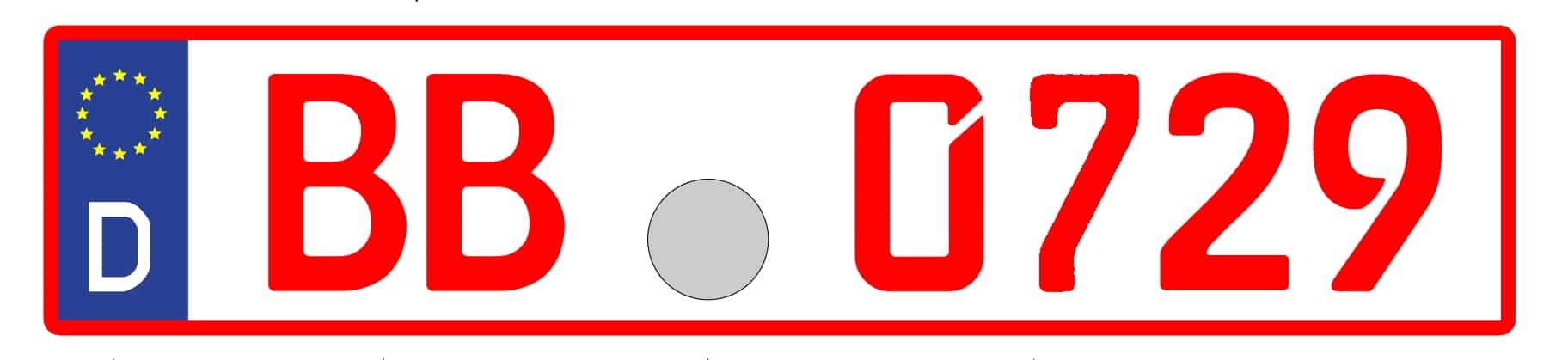 Rotes Oldtimerkennzeichen