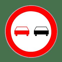 Allgemein wird ein Überholverbot durch dieses Schild angekündigt.