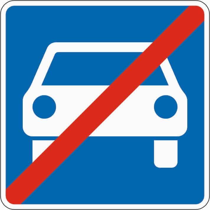 Zeichen 331.2 markiert das Ende der Kraftfahrstraße.